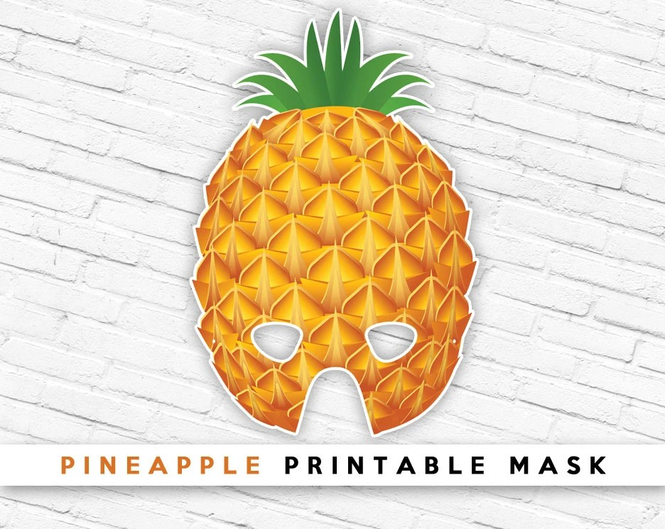 Pineapple Printable Party Mask Tropical Fruit Mask