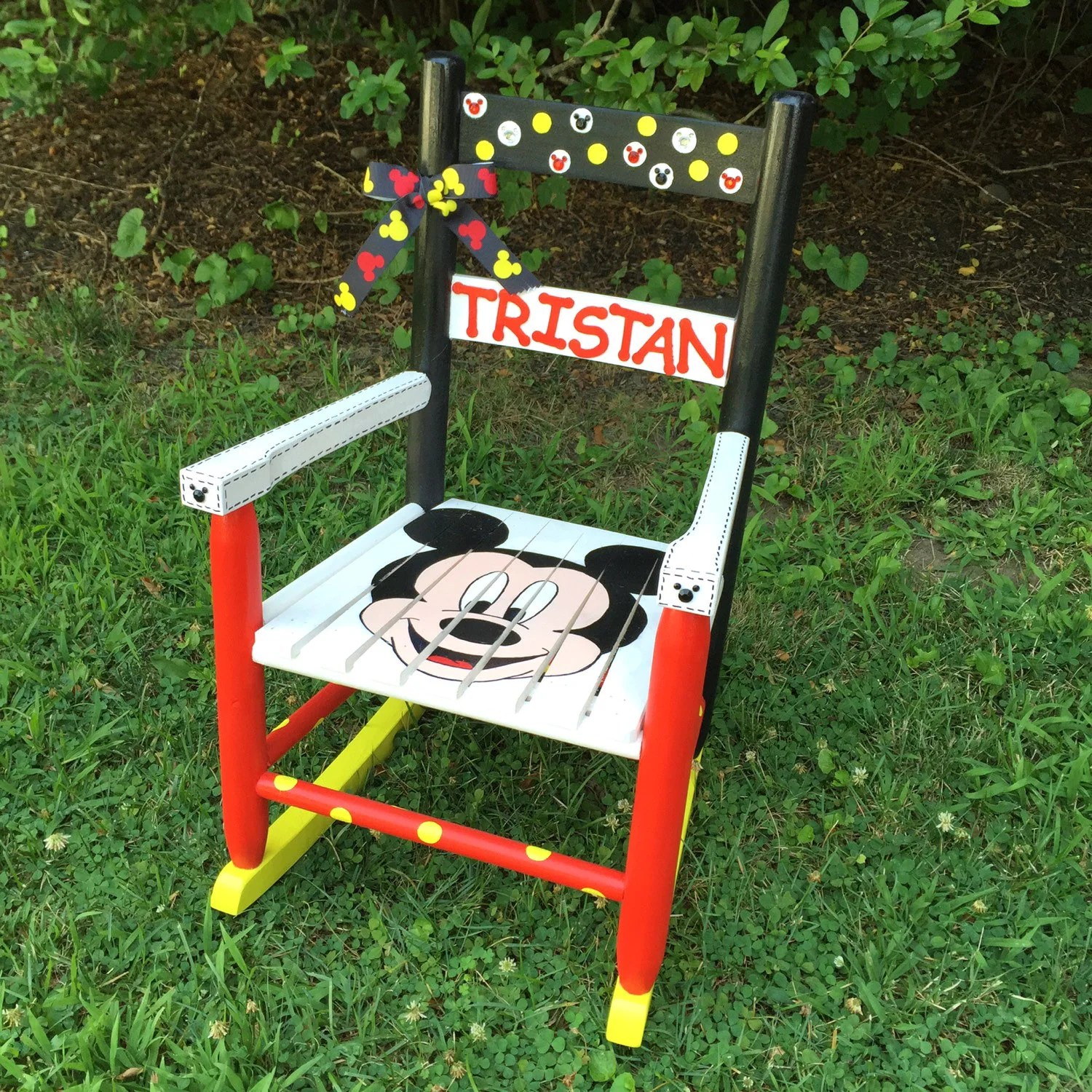 rocking chairs for nursery nz chair covers and bows pontyclun mickey mouse themed hand painted kids rocker