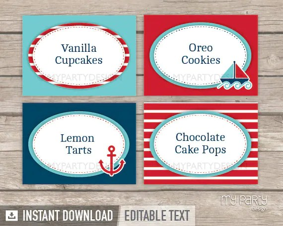 Nautical Party Food Labels Place Cards INSTANT DOWNLOAD