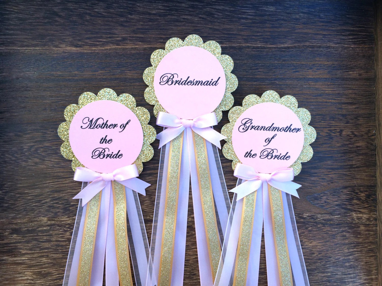 Pink And Gold Bridal Shower Pins. Bride