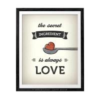 Kitchen print. Kitchen art love print love poster kitchen wall