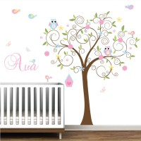 Vinyl Decals Tree with Birdhouse Birds Owls Custom