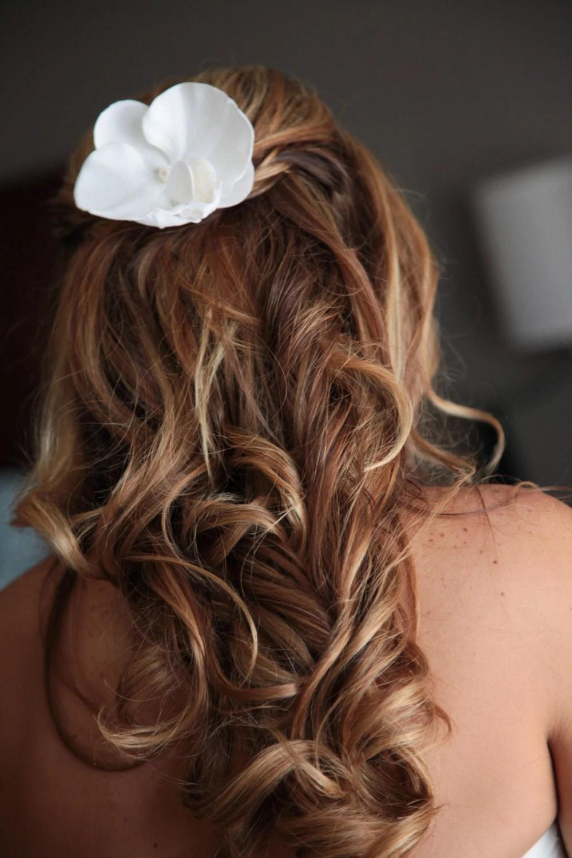 bridal hair clip silk flower tropical