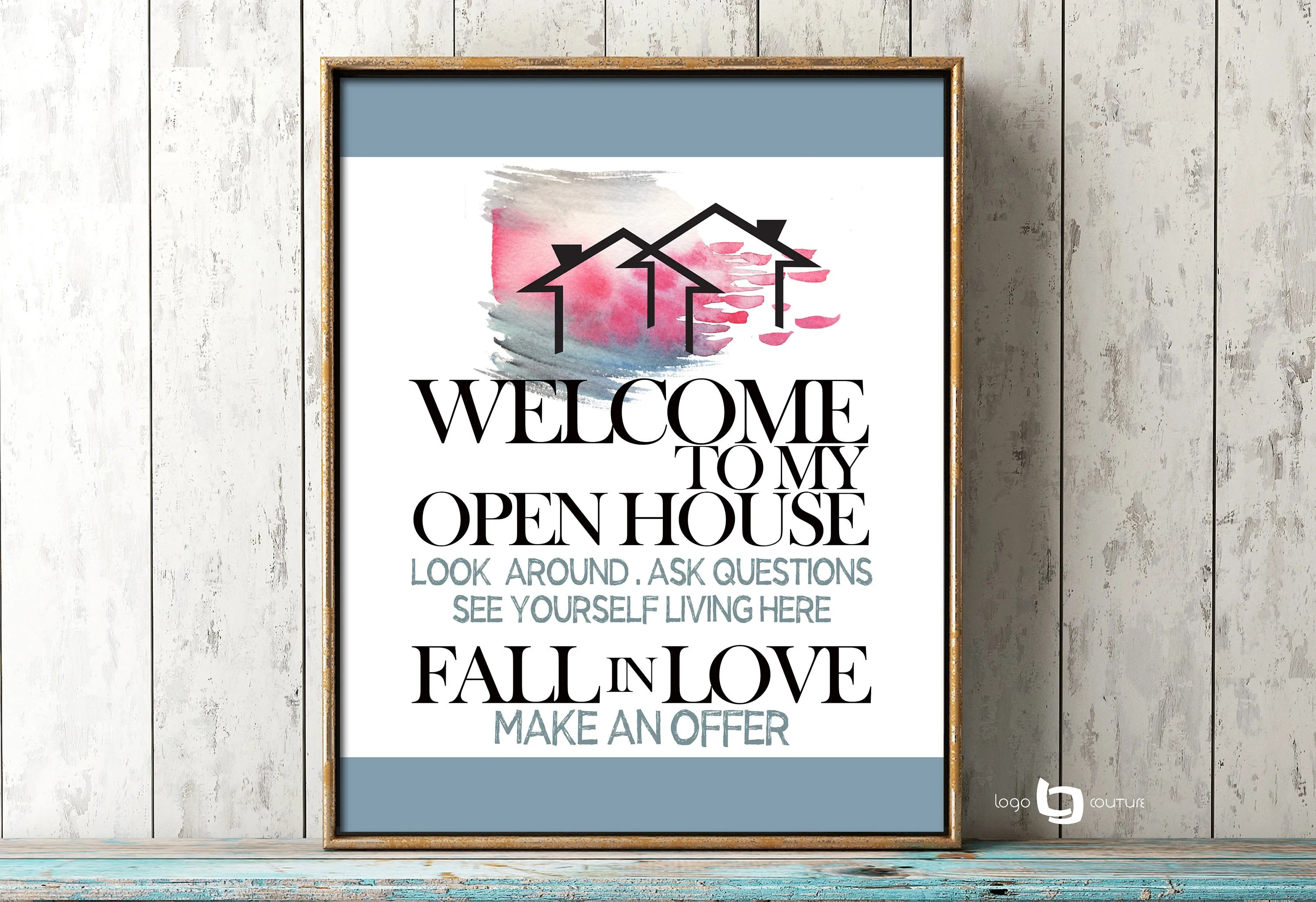 Welcome To My Open House Sign Print Real Estate Open House
