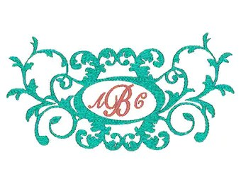Fancy Scroll monogram or name border Machine Embroidery Design