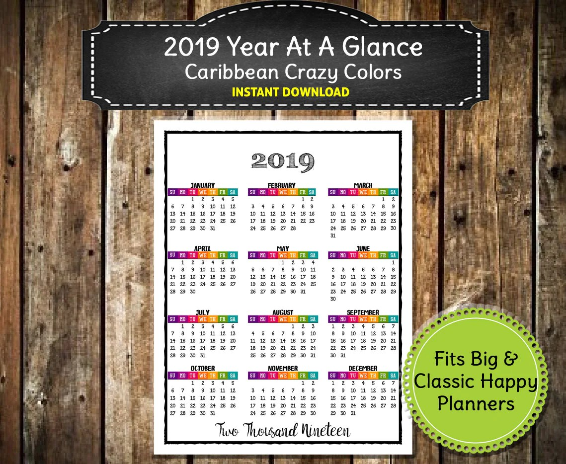 2019 full calendar printable