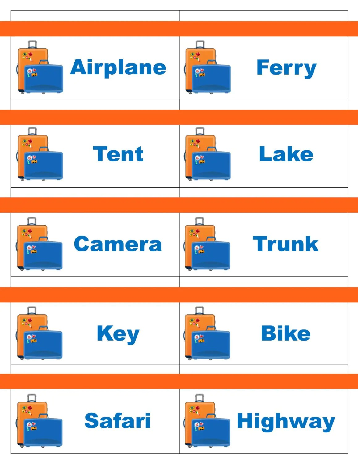 Printable Travel Road Trip Game Cards For Pictionary Or