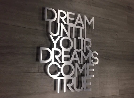 Dream Metal Wall Art Quote Dream On Aerosmith Dream