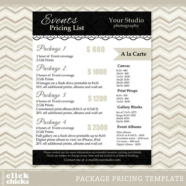Wedding Photography Package Pricing List Template - Resume