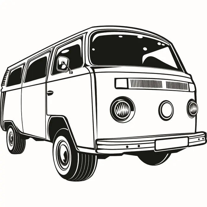 Volkswagen VW Bus 2 Classic Vintage Retro Van Surfing Vehicle