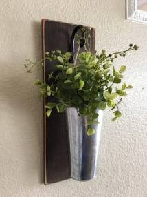 Galvanized Metal Hanging Planter With Greenery Flowers