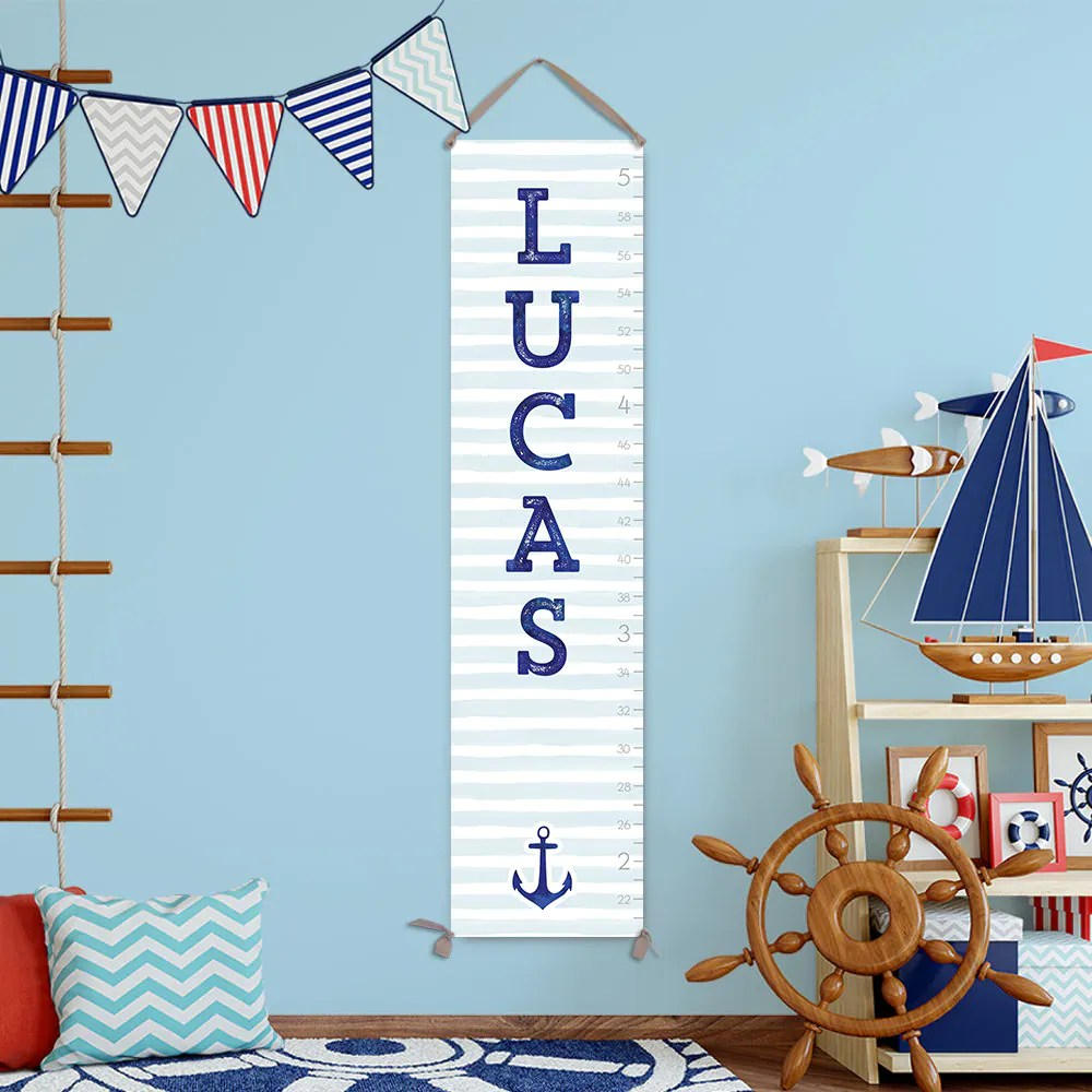 Nautical growth chart canvas personalized boy nursery decor boys room gc  also rh jolieprints