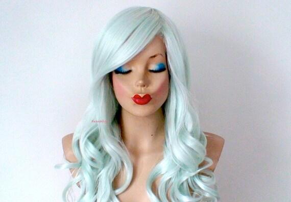 pastel wig. mint hair long