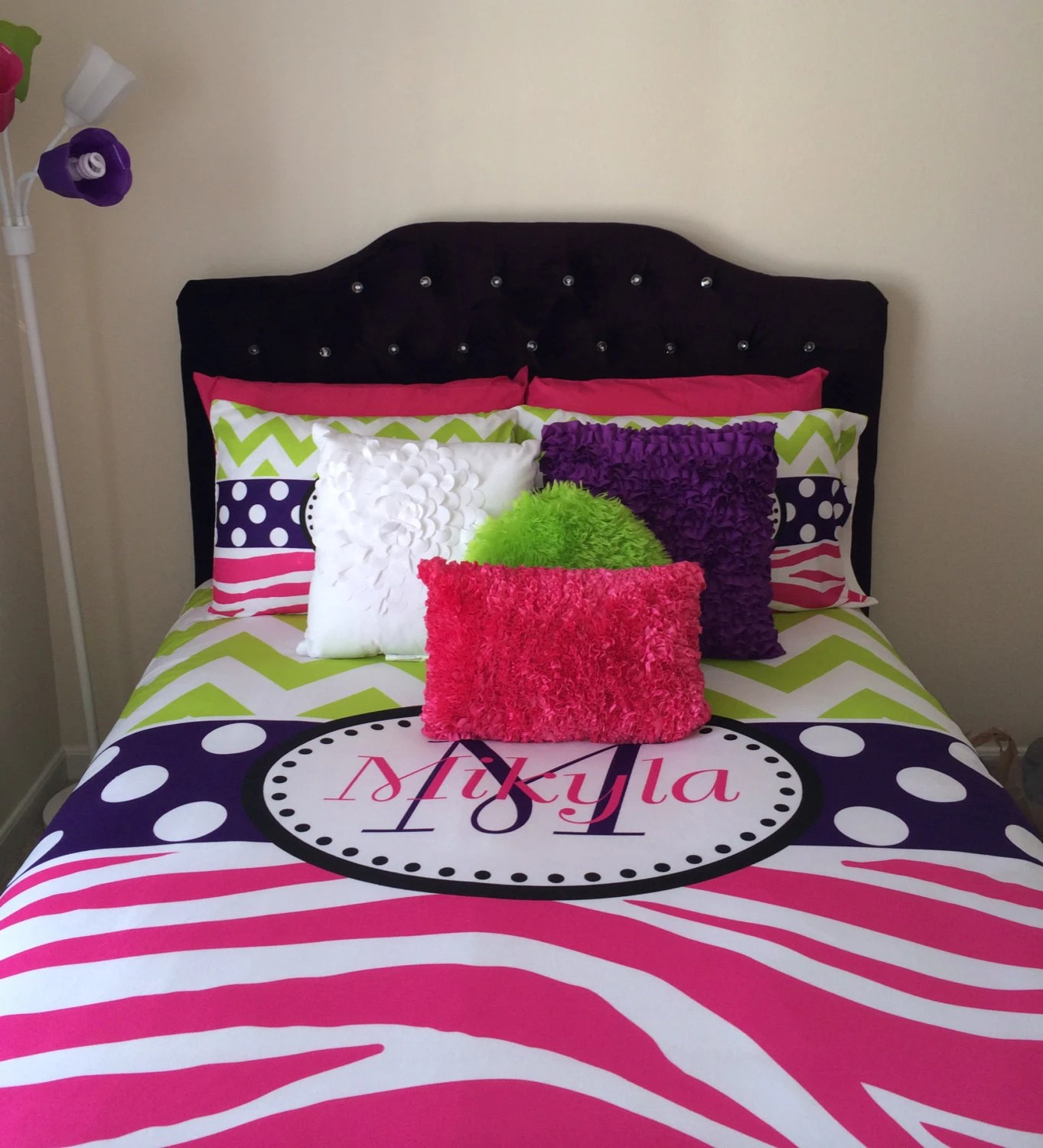 Pink and Lime Green Bedding