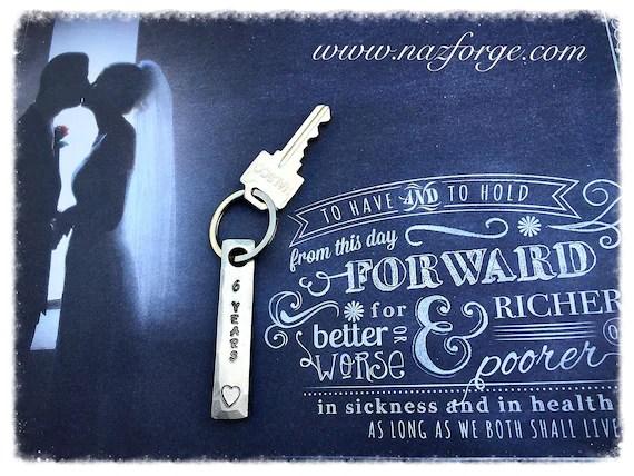 6th Year Iron Wedding Anniversary Keychain Gift Idea For Wife
