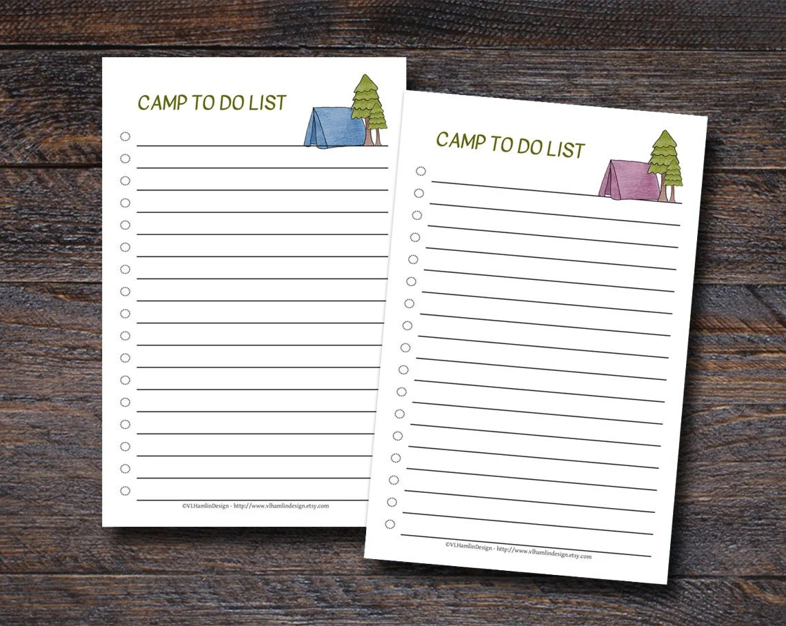 Camp To Do Lists - Summer...