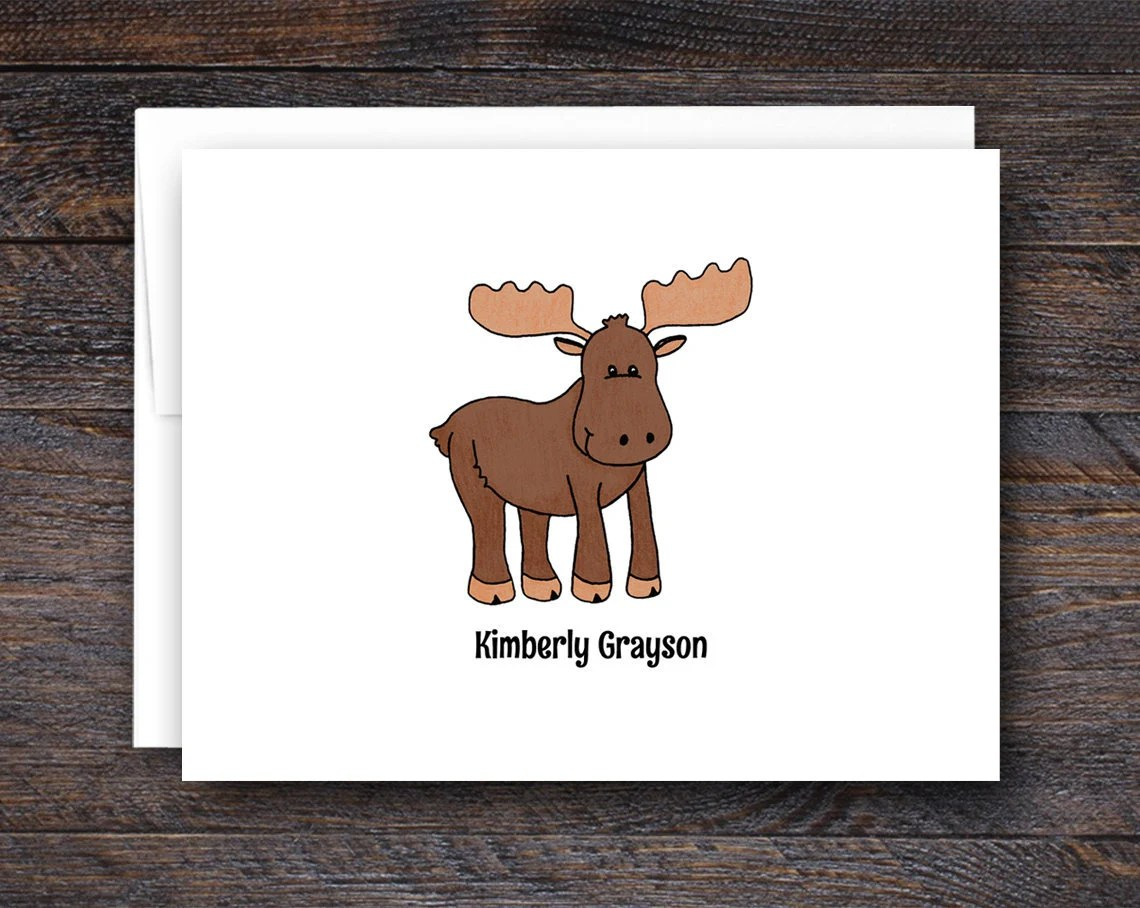 Moose Note Cards - Folded...