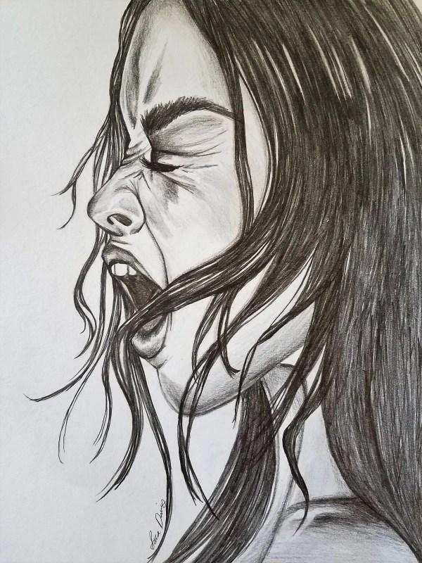 Screaming Dark Art Drawing