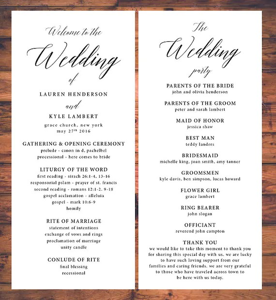 Classic Wedding Ceremony Programs Traditional Ceremony Program
