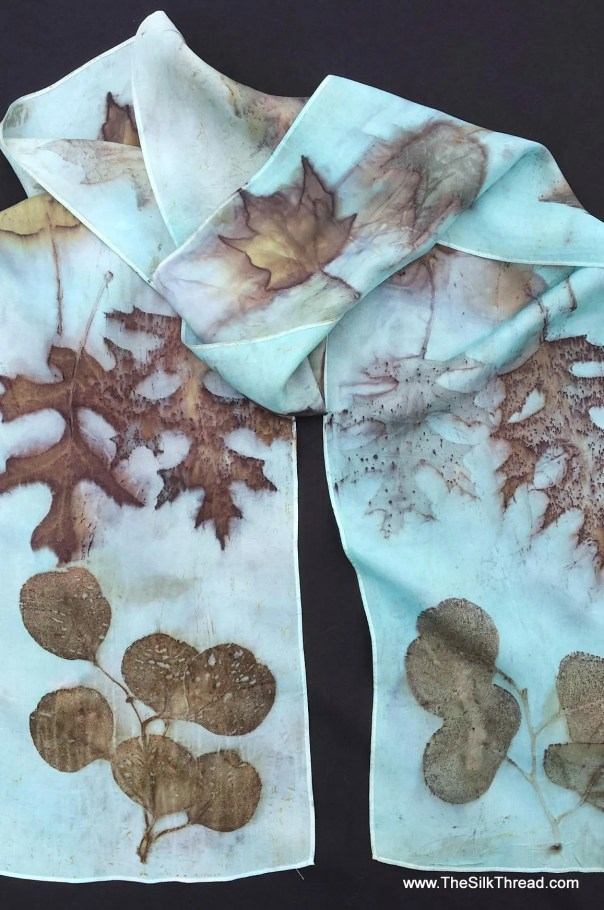 "Ecoprinted Blue Silk Scarf, maple, oak leaf designs & colors imprinted from Nature, 8"" x 72"", Natural silk art by artist,OOAK, USA ship FREE"