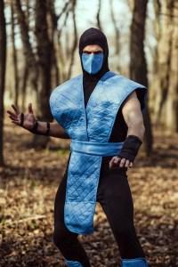 Sub Zero ninja cosplay costume from Mortal kombat video game