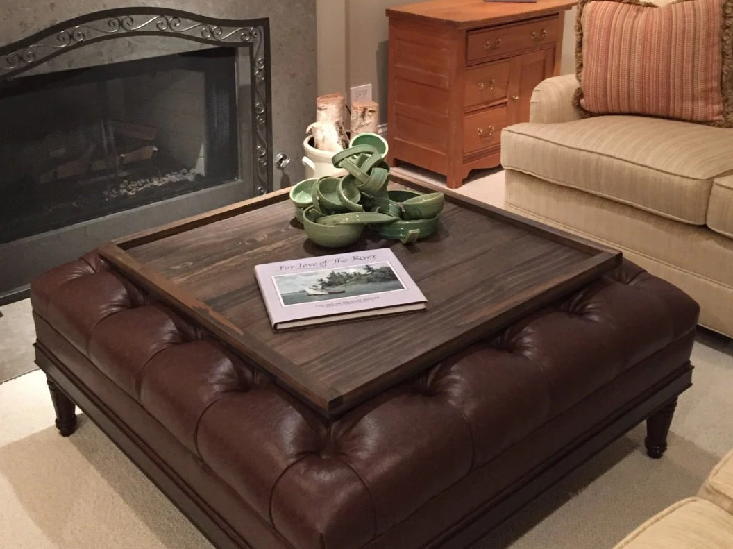 Square Ottoman Tray Table Top