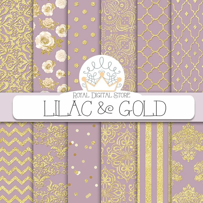 Purple digital paper LILAC  GOLD with purple and