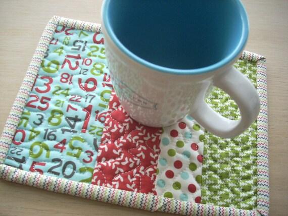 hometown Christmas mug rug - FREE SHIPPING