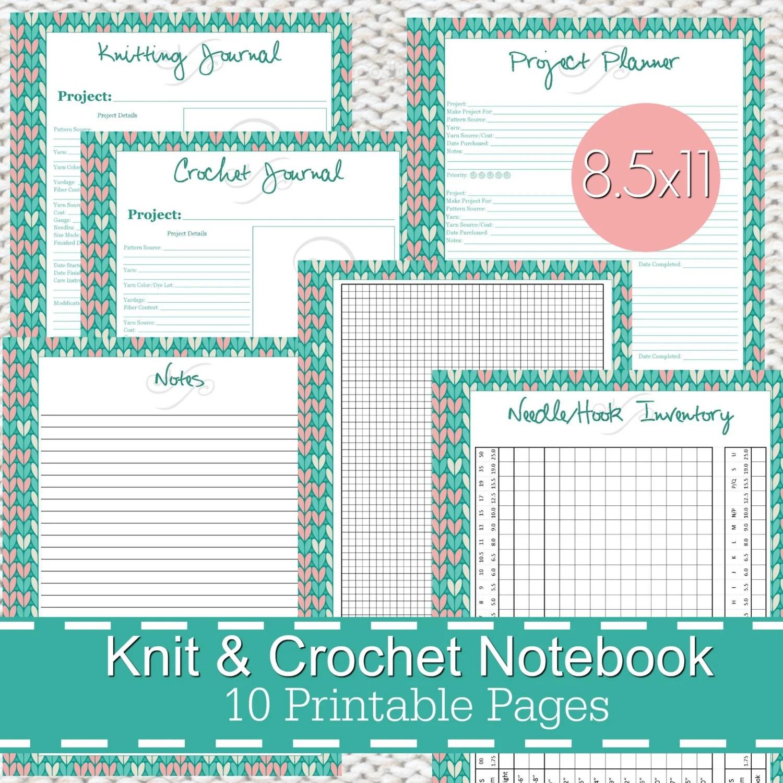 Knitting Crochet Planner Notebook Journal Printables