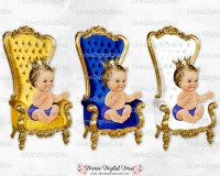 Prince Throne Chair Royal Blue White Gold Crown Light Skin