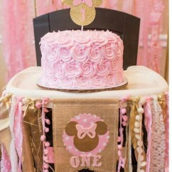 Mickey Mouse High Chair Decorations Zero Gravity Beach Pink And Gold Minnie Birthday Highchair