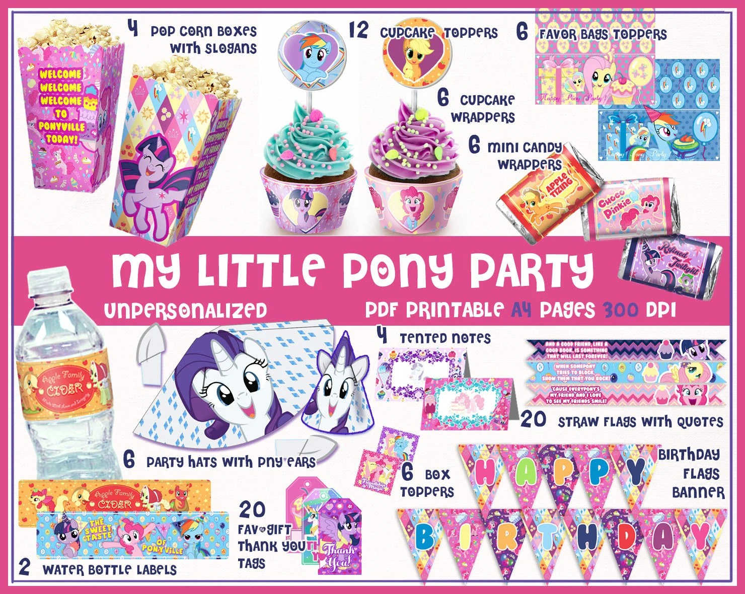 My Little Pony Birthday Party Printables Decorations Party