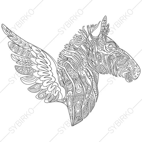 Zebra. Tattoo Wings. Coloring Page. Animal coloring book pages