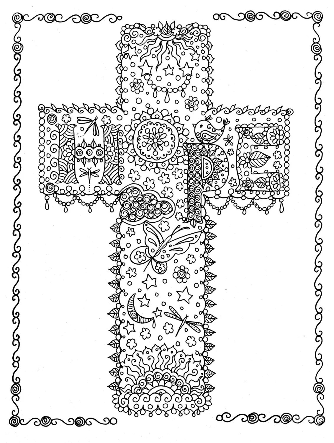HOPE Cross Digital Coloring Page Instant Download from Crosses