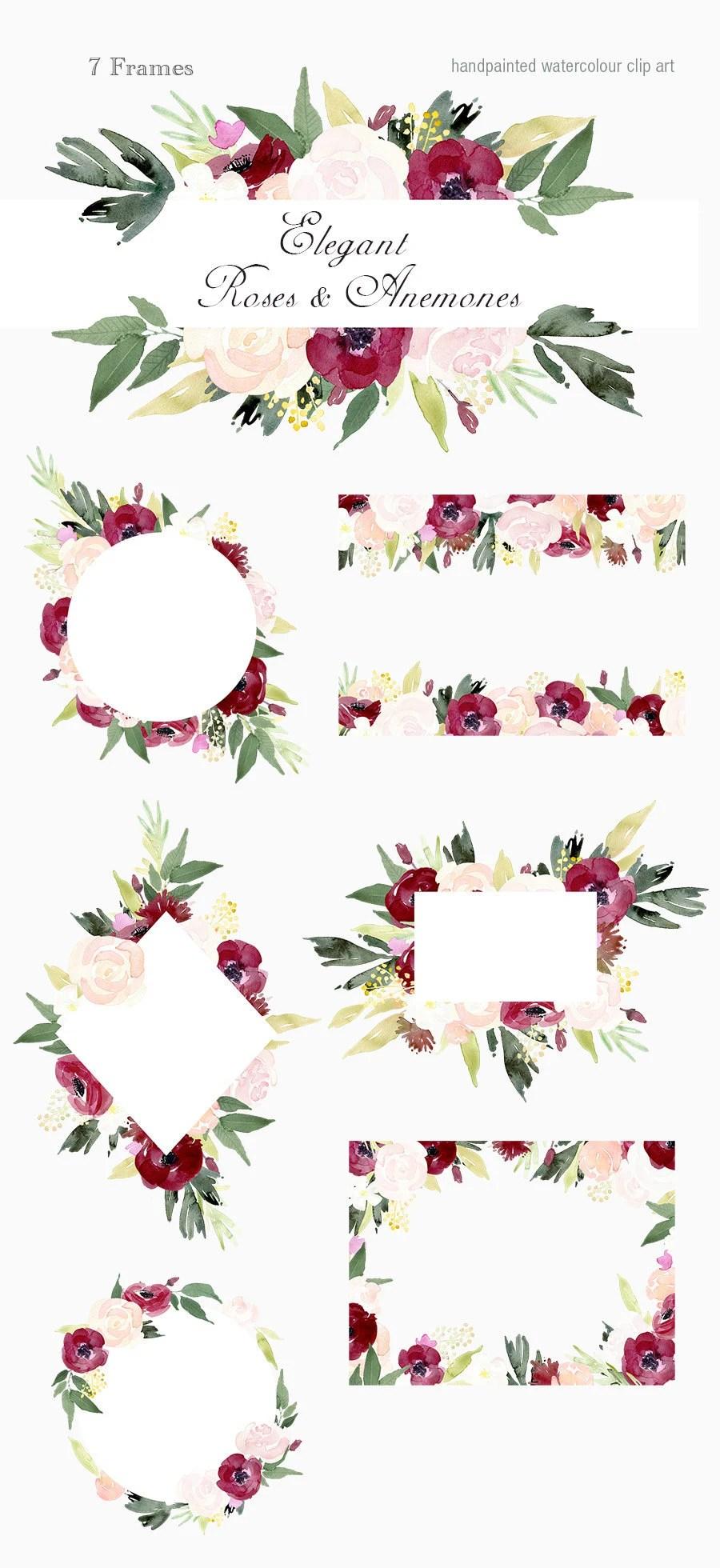 elegant roses and anemones frames