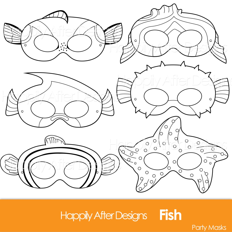 Fish Printable Coloring Masks Clownfish Mask Blue Tang