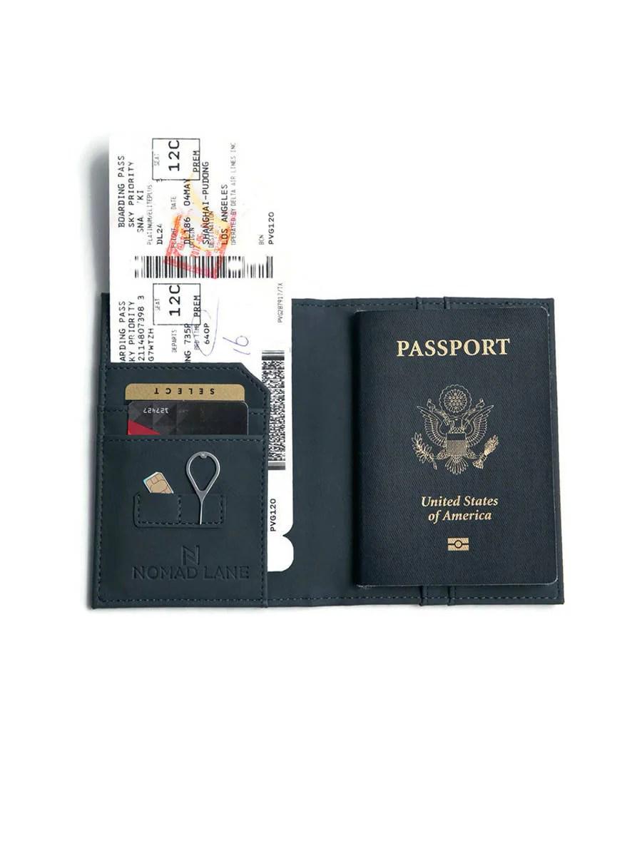 Rfid Blocking Vegan Leather Passport Holder Dual