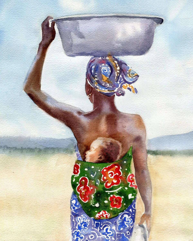 African American Black Woman Mother Art Print Watercolor