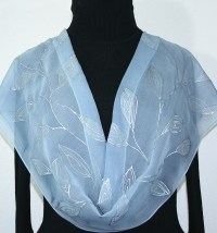 Gray Chiffon Silk Scarf Hand Painted Shawl SILVER BEAUTY ...