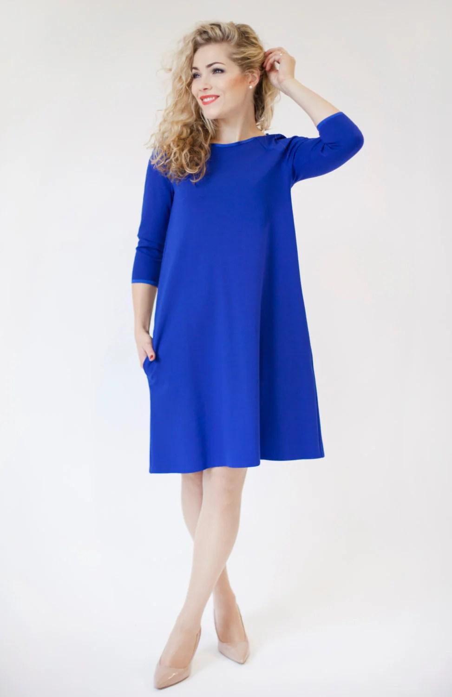 Royal Blue Midi Dress Long Sleeve With Pockets