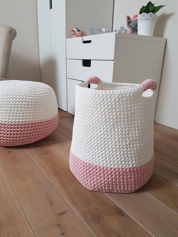 Medium Pink & White Basket