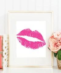 Hot Pink Lips Kiss Art Print Pink Wall Art Love Girls