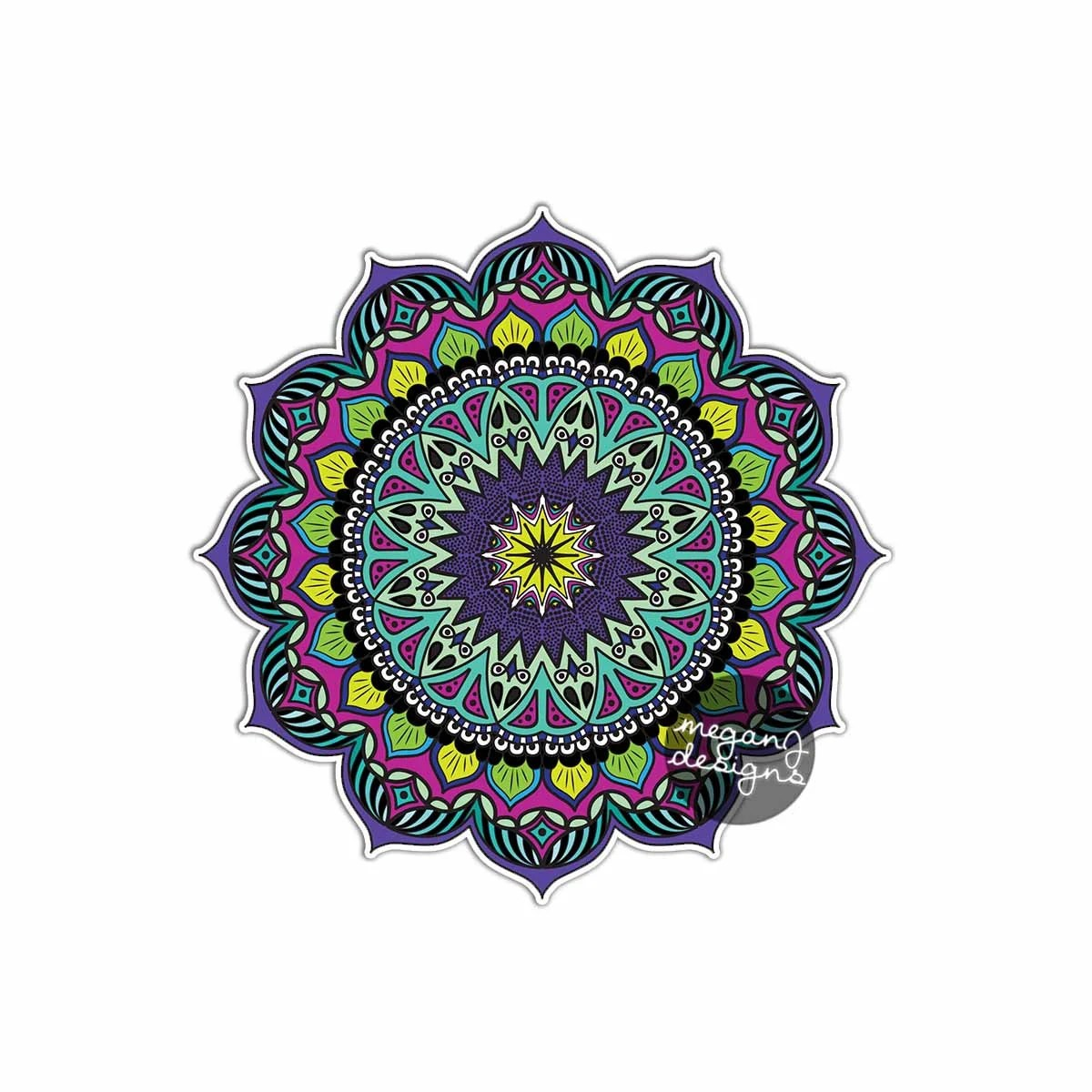 Earthy Mandala Sticker Colorful Car Decal Vinyl Bumper