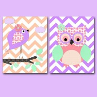 Pink Purple Beige Mint Owl Wall Decor Bird Wall Art Canvas