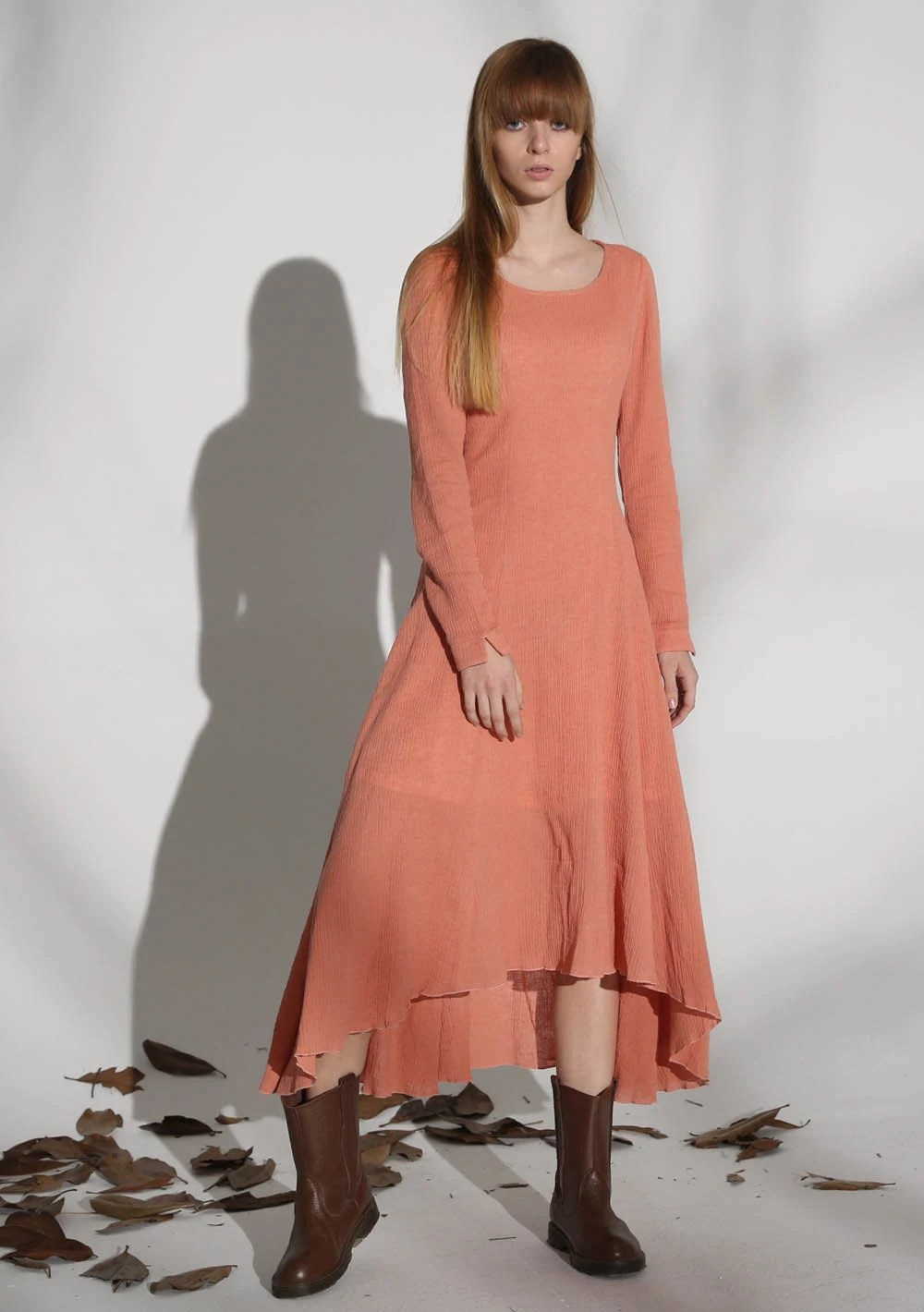 Orange Dress Linen Fit And Flare Sun
