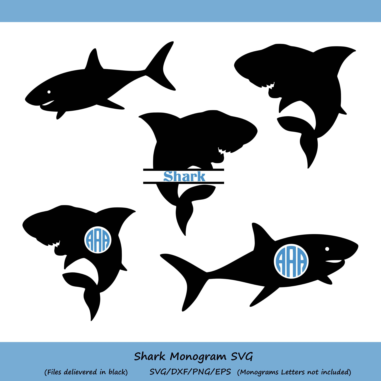 Shark Svg Silhouette Monogram Clipart
