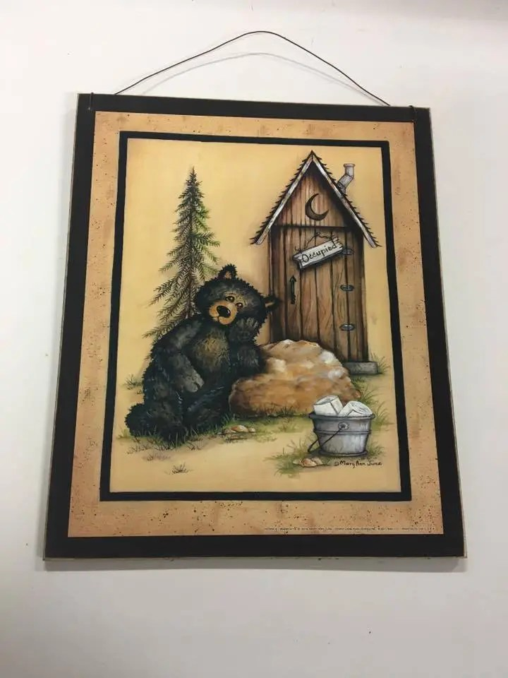 Black bear occupied outhouse bathroom decor wood sign country