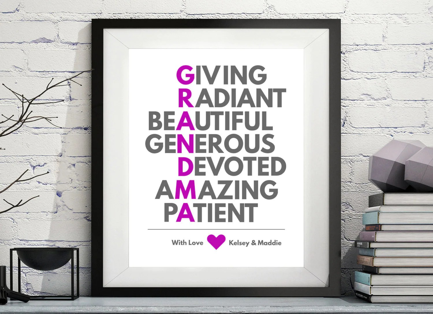 Grandmother Acrostic Art Personalized Grandma Gift Gifts For