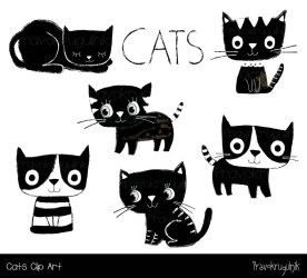 clipart cat cute clip kawaii kitty cats animal kitten cartoon pet etsy drawing drawings kittens doodle graphic planner sold