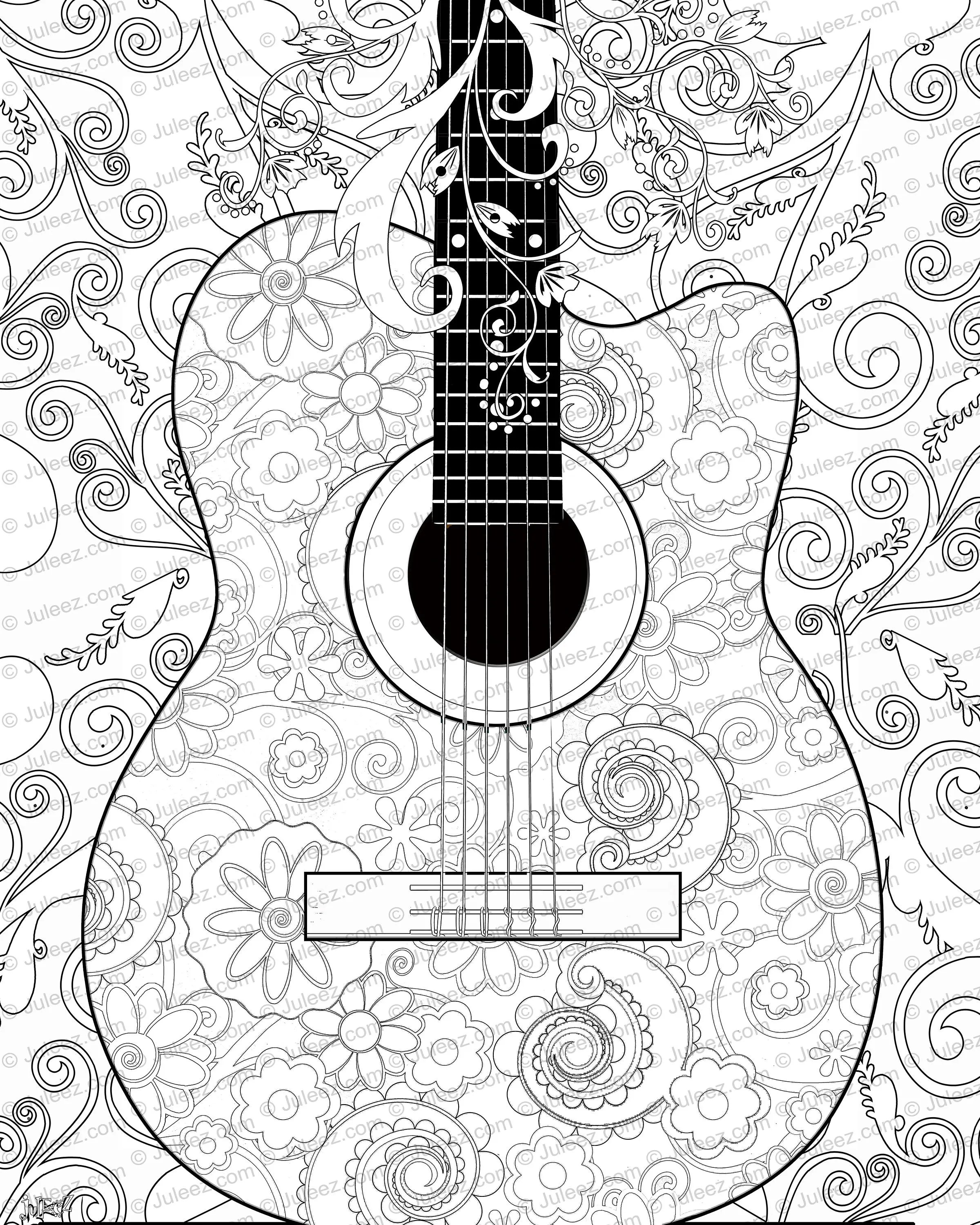 New Guitar Flowers Adult Coloring Page Printable Adult Guitar